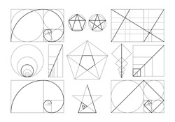 Golden ratio set. Isolated flat spiral, geometric shapes with ideal section composition icons. Golden ratio divine proportion collection. Geometry harmony and balance vector illustration