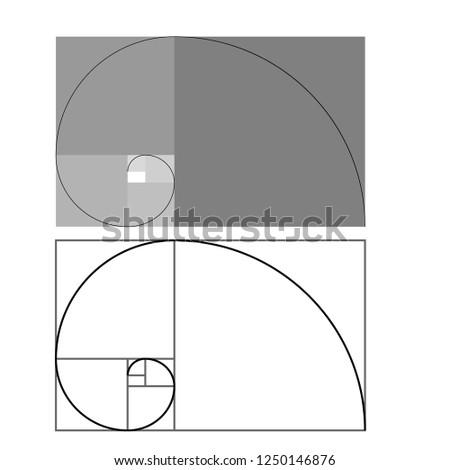 Golden ratio traditional proportions vector icon Fibonacci spiral. Vector Illustration eps 10 Minimalistic style design. Geometric shapes. Circles. Futuristic design. Abstract vector background.