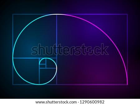 Golden ratio traditional proportions vector icon Fibonacci spiral. Vector Illustration eps 10 Minimalistic style design. Geometric shapes. Circles. Futuristic design. Abstract vector background