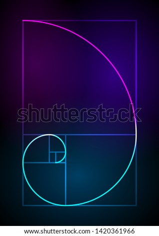 Golden ratio traditional proportions vector icon Fibonacci spiral. Vector Illustration eps 10 Minimalistic style design. Geometric shapes. Circles. Futuristic design. Abstract vector background