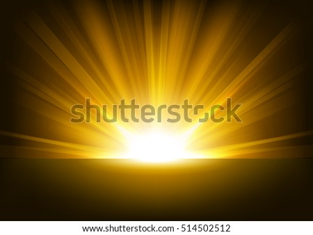 Golden Rays rising on dark background Vector Illustration