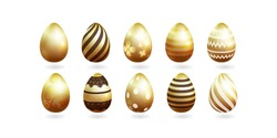 Golden realistic Easter eggs with a pattern isolated on a white background. Different murals. Vector illustration.