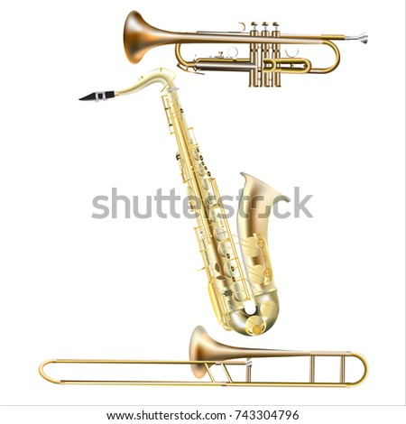 Golden realistic icons set of trumpet, saxophone and trombone isolated on white background
