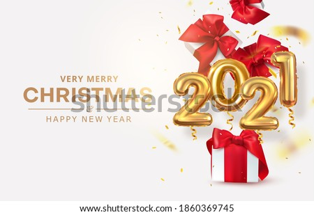 Golden realistic numbers balloons 2021. Two thousand twenty-first. Gifts and confetti. New Year's and Christmas. Realistic vector design