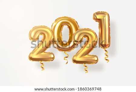 Golden realistic numbers balloons 2021. Two thousand twenty first year. New Year's and Christmas. Realistic bright vector design