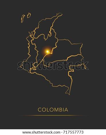 Golden region map, Colombia vector background Stockfoto ©