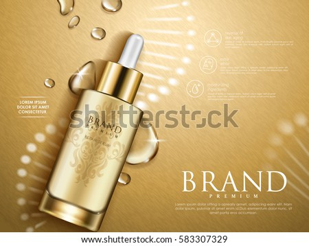 golden repair serum with helical structure and water drops, 3d illustration