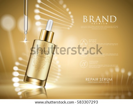 golden repair serum with helical structure, 3d illustration