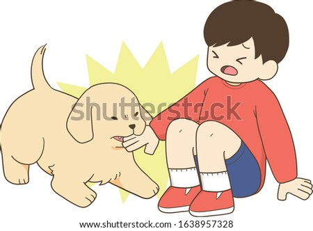 golden retriever - child and angry puppy Stok fotoğraf ©