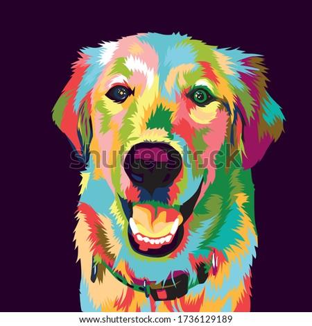 golden retriever dog pop art illustration Foto stock ©