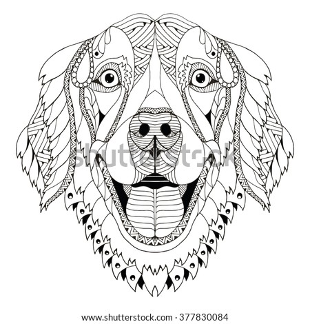 golden retriever dog zentangle