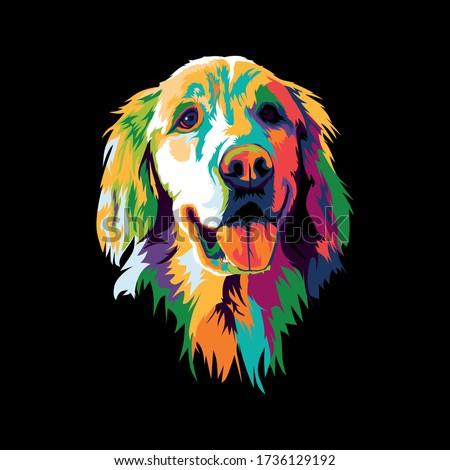 golden retriever head pop art illustration. cute colorful dog illustration Foto stock ©