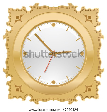 golden retro clock