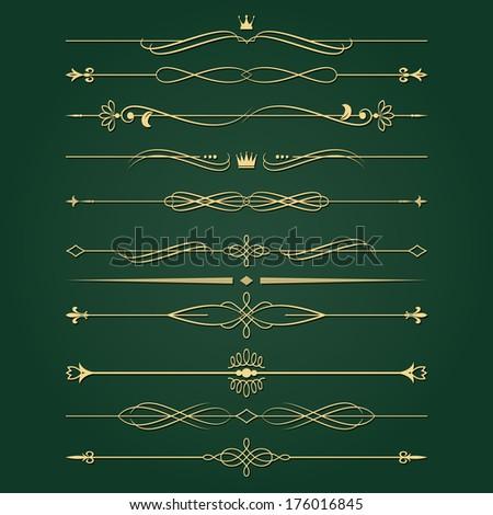 Golden retro divider set Calligraphic design elements