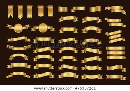 Golden ribbon banner set.Vector illustration.