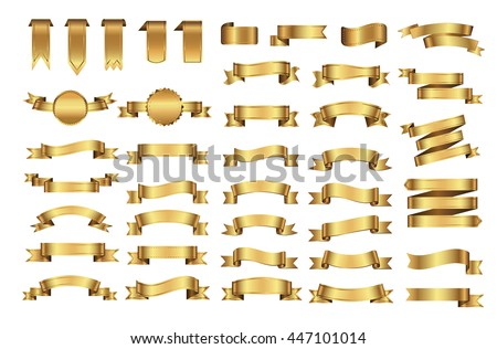 Golden ribbon banners.Set of gold ribbons.Vector illustration.