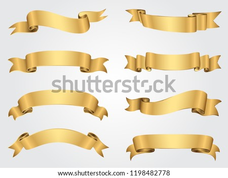 Golden ribbon banners set.Vector gold ribbons.