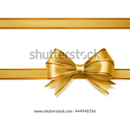 golden ribbon bow on white. vector decorative design elements #444948766