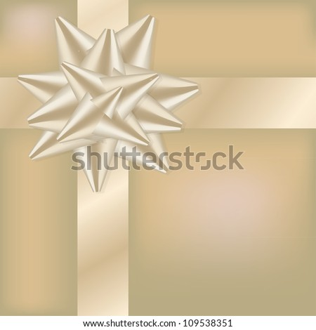 Golden ribbon on the gift box - illustration