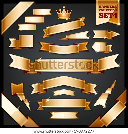 Golden Ribbons Banners Collection Set4 In the EPS file each element is grouped separately