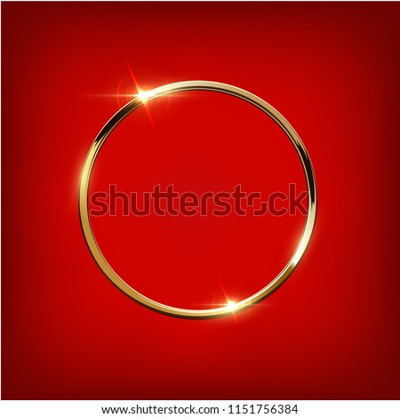 golden ring isolated on red