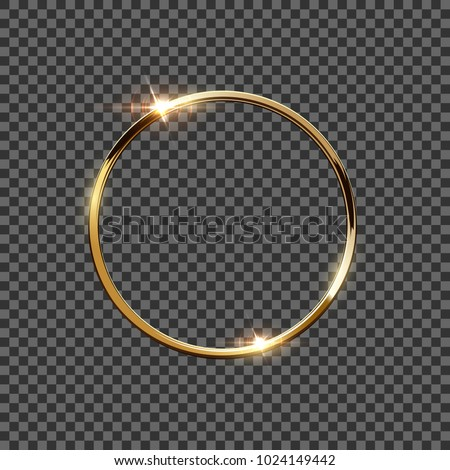 Golden ring isolated on transparent background. Vector design element. stock photo