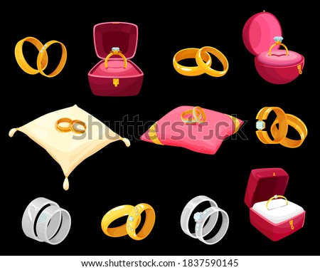 Golden rings in luxury boxes for wedding or engagement vector icons. Gold jewelry decorated with precious gemstones lying on soft pillow or red cases of square and round shape isolated cartoon set