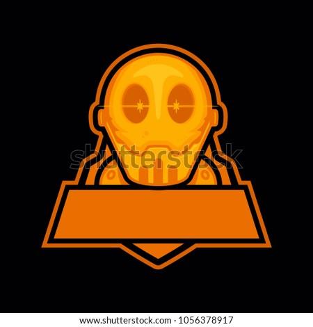golden robot head illustration