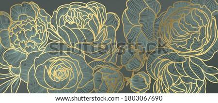 golden rose flower art deco