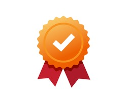 Golden rosetted award medal with check mark tick label, concept of premium quality or recommended certificate icon, idea of guaranty or warranty badge, approved check markribbon