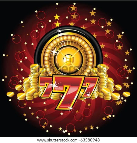 golden roulette wheel with coins and sevens