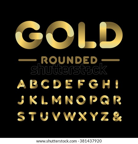 golden rounded font vector
