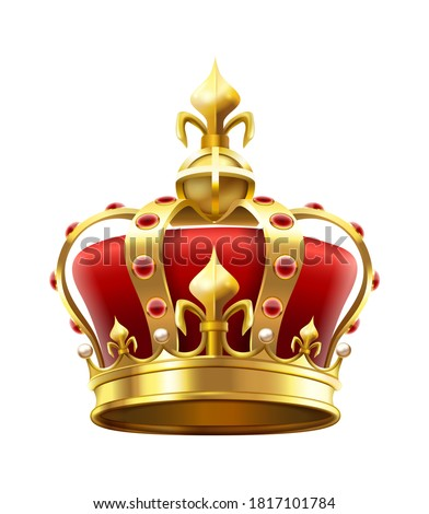 Golden royal crown with jewels. Heraldic elements, monarchic symbol for king. Monarchy accessory with red stones. Royalty luxury element for coronation isolated on white vector illustration Сток-фото ©