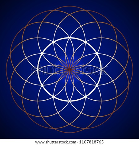 Golden Sacred Geometry Torus Yantra on background