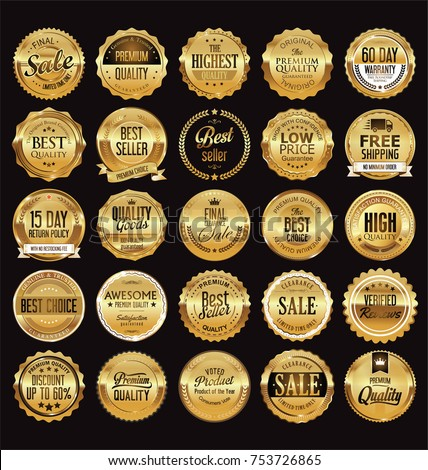 Golden sale frame badge and label vector collection #753726865