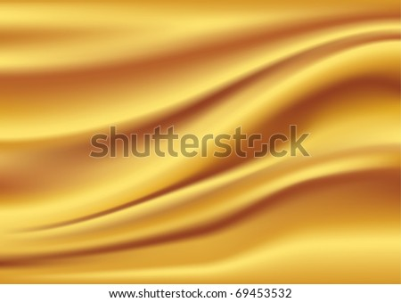 Golden satin, silk, waves. Yellow background, vector illustration