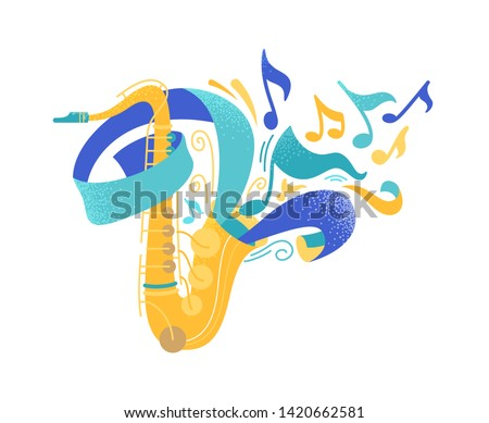 Golden saxophone flat vector illustration. Sax with paper streamer isolated clipart. Professional brass instrument, saxophonist equipment drawing. Classical music, jazz concert performance