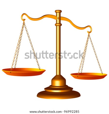 golden scale of justice against white background, abstract vector art illustration - stock vector