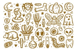Golden scary ink vector Halloween illustration. Skull, druid knife, insect, ghost, rat, poison, eye, pumpkin, bone, cross, spider, rune, tooth, herb, death, danger. Isolated on white background.