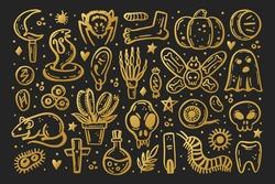 Golden scary ink vector Halloween illustration. Skull, druid knife, insect, ghost, rat, poison, eye, pumpkin, bone, cross, spider, rune, tooth, herb, death, danger. Isolated on dark background.