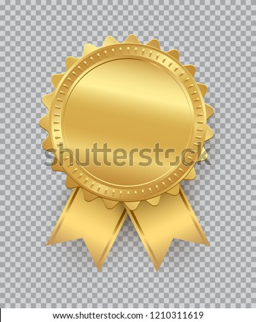Golden seal with ribbons isolated on transparent background. Vector design element