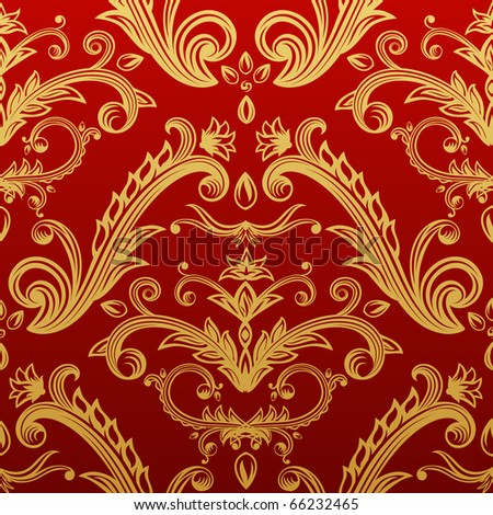 Golden seamless ornate pattern on red background.