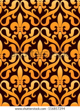 Golden seamless pattern of french lilies on dark background
