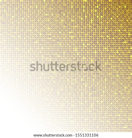 Golden sequins, glitters, sparkles, paillettes, mosaic background template. Abstract luxury halftone vector creative backdrop. Gold rounds with gradient trendy. Vibrant shiny dots glitter texture.