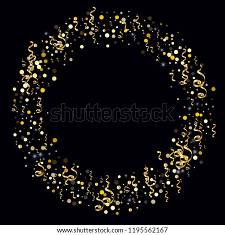 Golden serpentine and confetti on a black background Memorable design of wallpaper, background, cover, printing, packaging