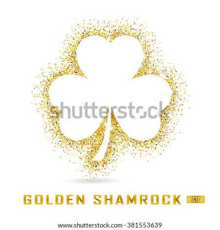 Golden Shamrock is a symbol of St. Patrick's day. The feast of Saint Patrick is celebrated on March 17. Gold Shamrock on a white background