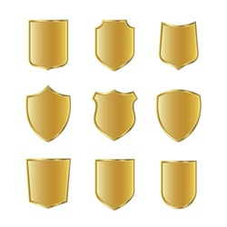 Golden shield collection. Set of gold protection signs. Knight award, medieval royal vintage badges