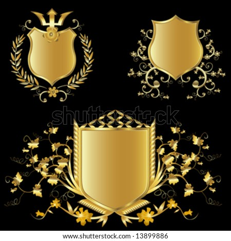 golden shield design set with various shapes and decoration
