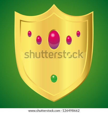 golden shield with rubies and