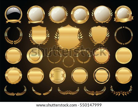 golden shields laurel wreaths